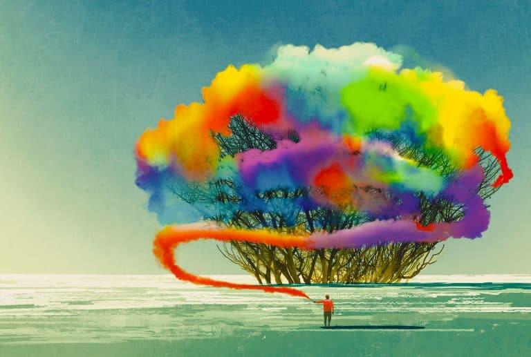 Pintura abstracta con bosque