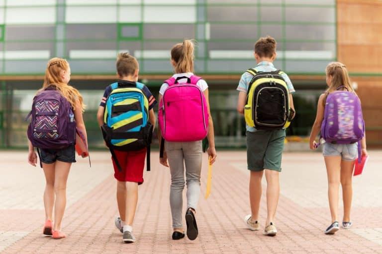 Varios niños con mochilas