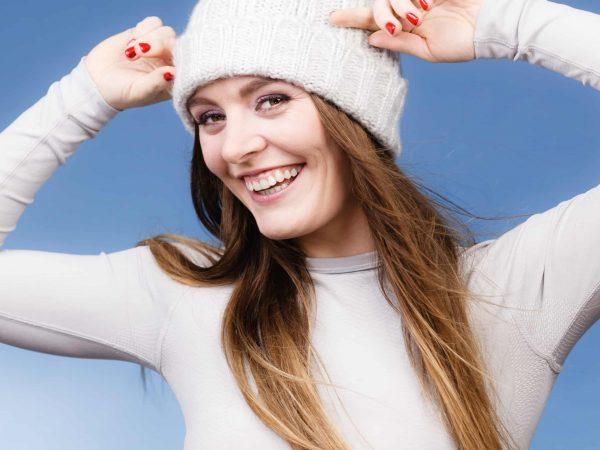 Mujer con ropa interior térmica