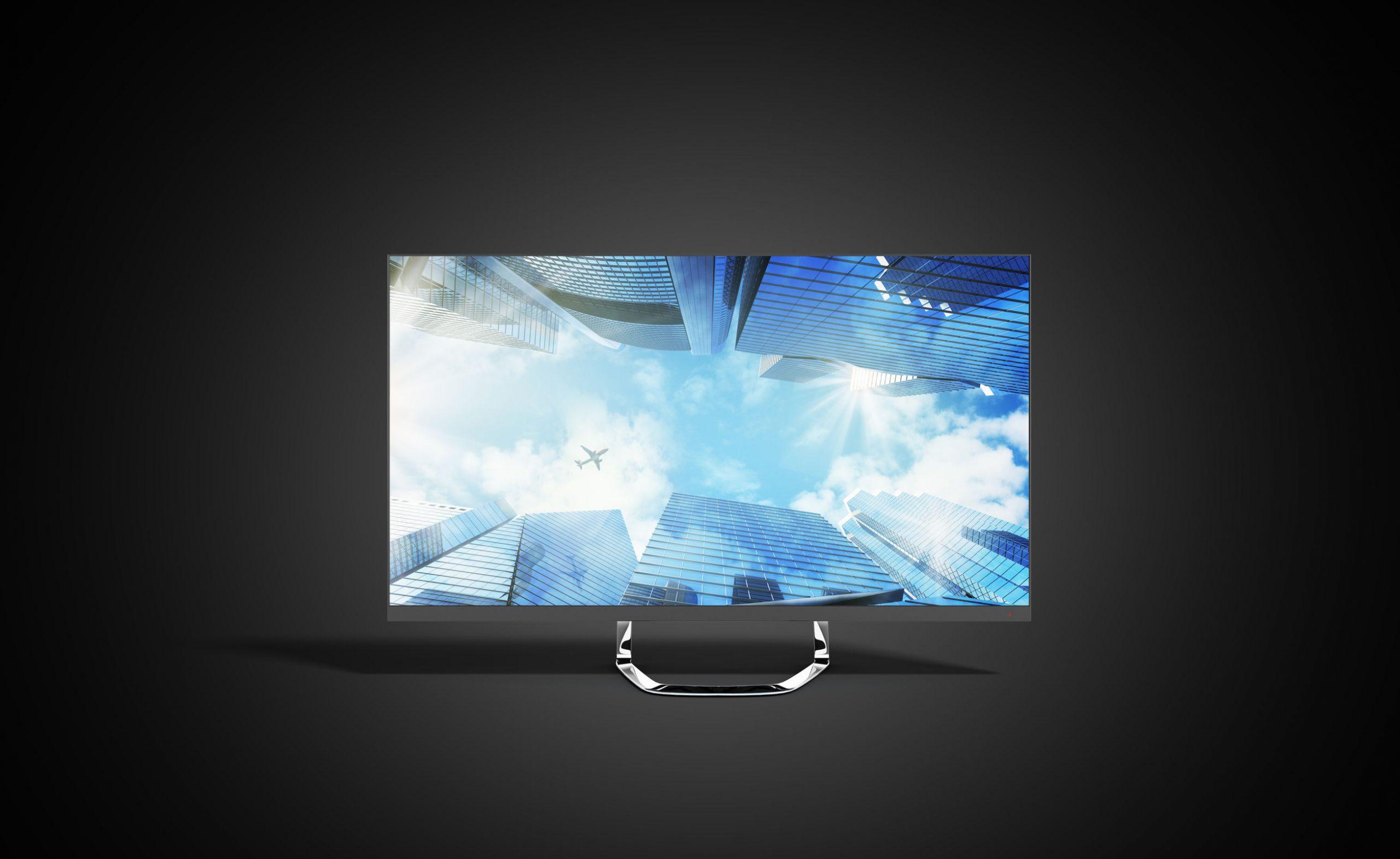 4k monitor 3d render image on black background