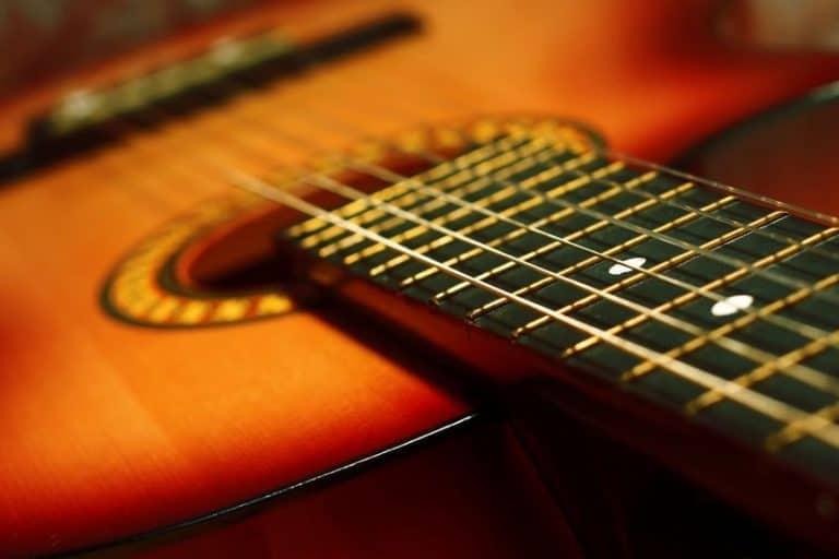 Vista de cuerdas de guitarra flamenca