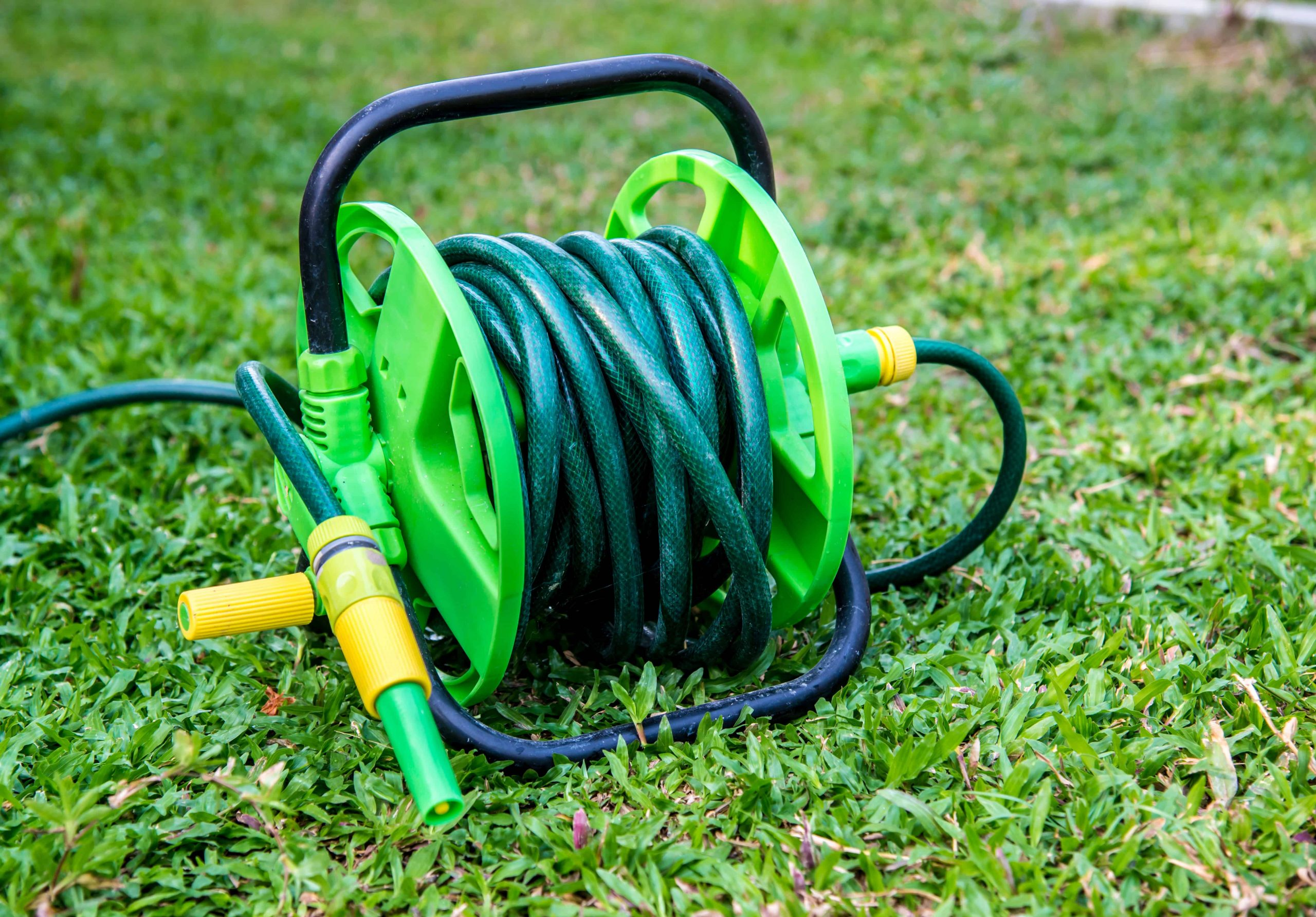 Manguera verde en jardín