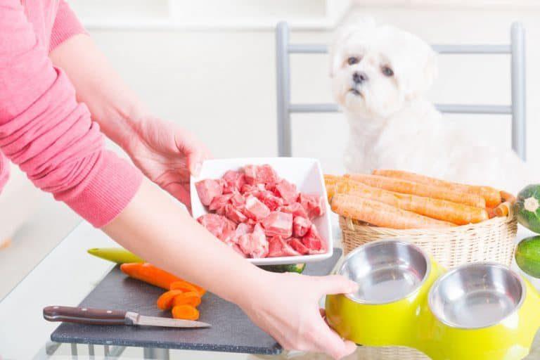 Carne cruda en recipiente