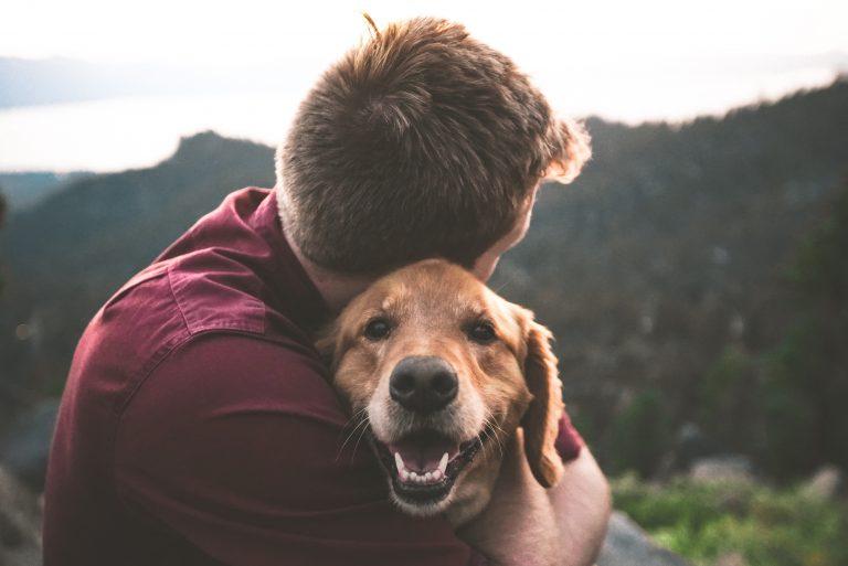 Dueño abrazando a su mascota