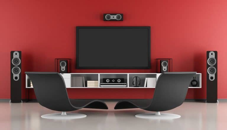 Home theater con fondo rojo