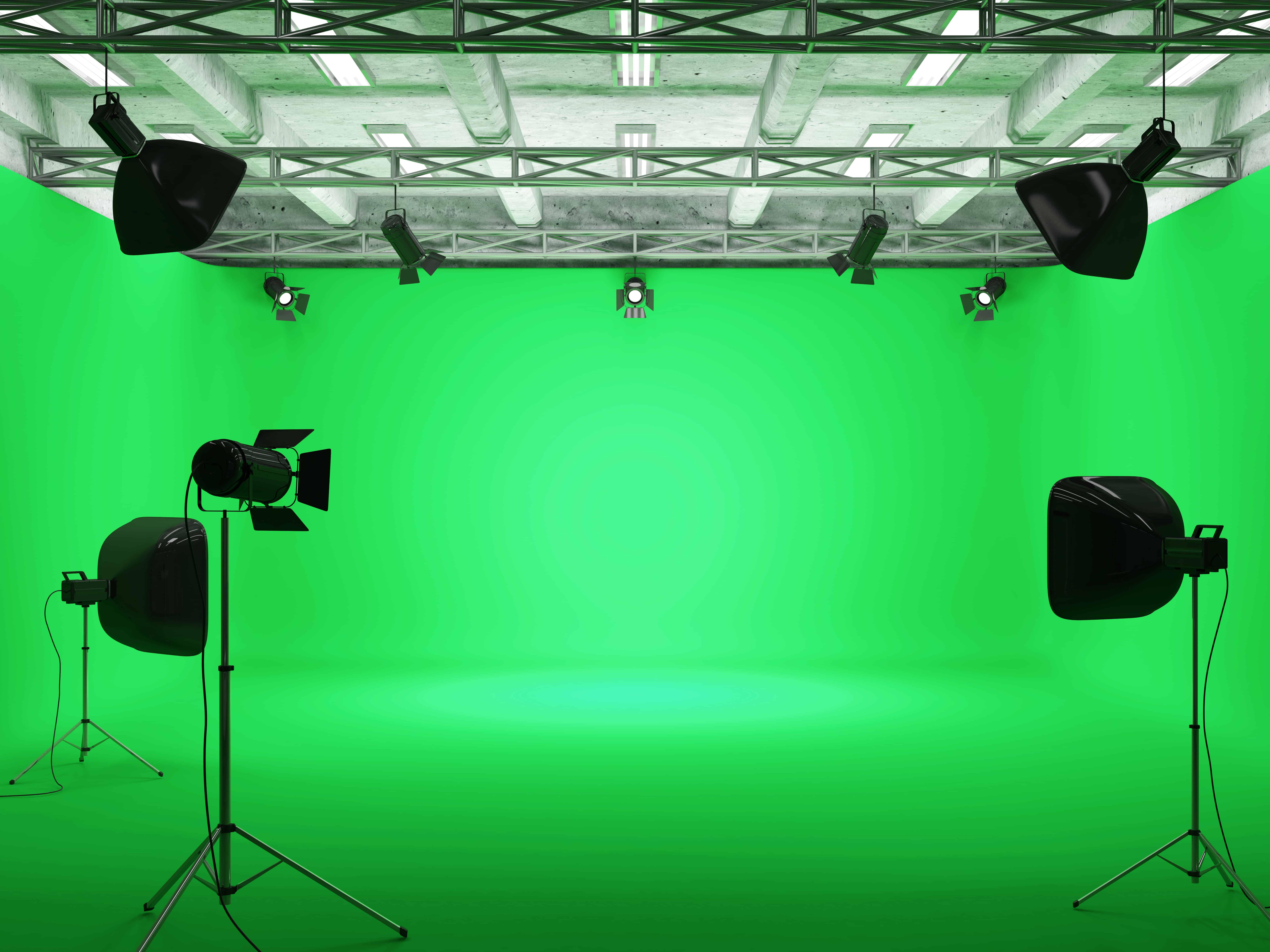 Una pantalla verde en un estudio