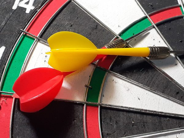 129913372 – dart board on   blue background. photo taken in malaysia