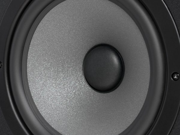 Black studio monitor speaker, closeup
