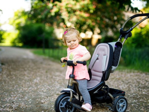Cute adorable toddler girl sitting on pushing bicyle or tricycle. Little baby child going for a walk with parents on sunny day. Happy healthy kid in colorful clothes.
