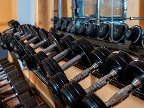 Rows of metal dumbbells on rack in the gym / sport club. Weight Training Equipment. – Image