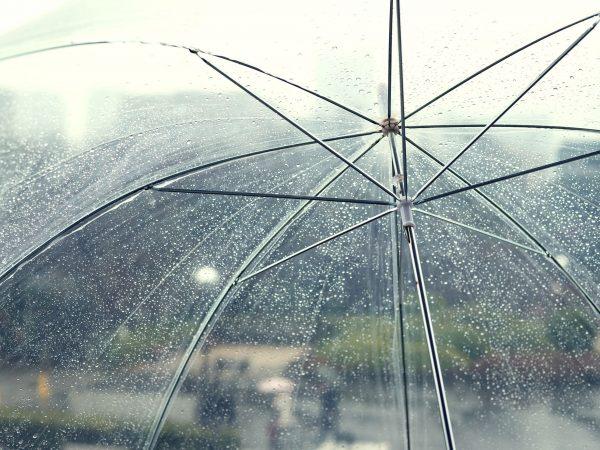 Transparent umbrella in rainy day