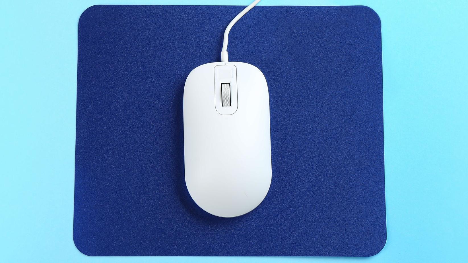 alfombrilla azul y mouse blanco