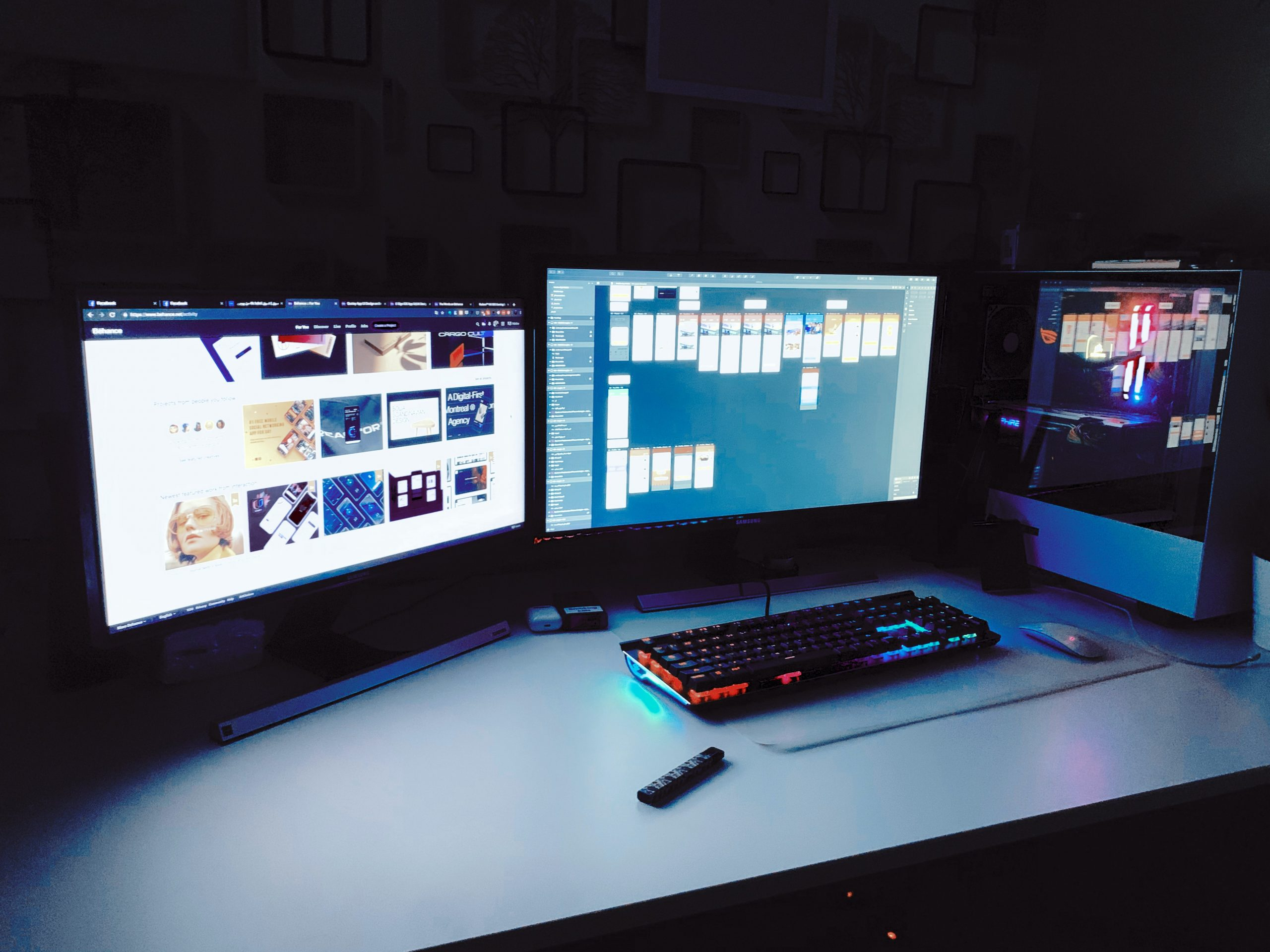 Gaming station con dos monitores