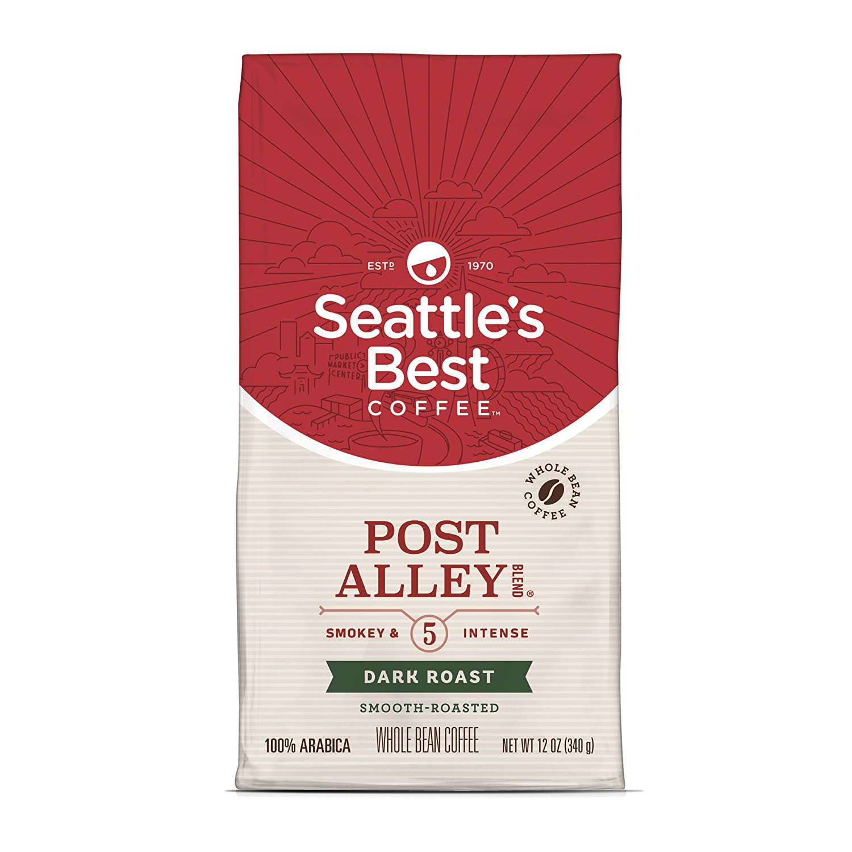 Seattle's Best Coffee Signature Blend No. 5 café de grano entero tostado oscuro, bolsa de 12 onzas