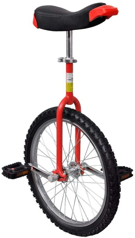 vidaXL Adjustable Unicycle 20 Inch Red Balance Exercise Fun Bike Cycle Fitness