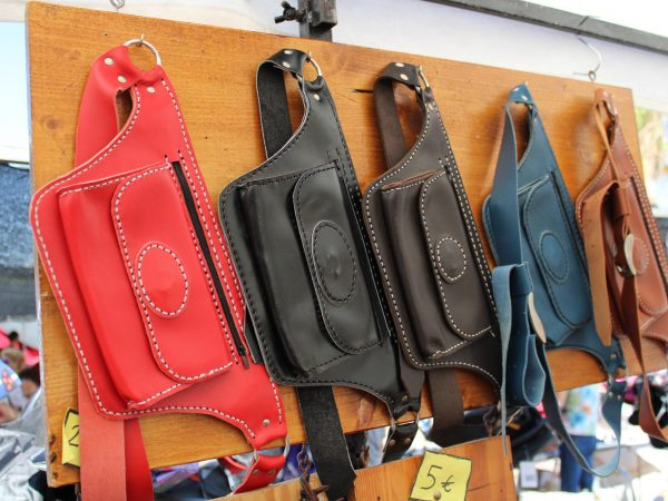 Leather fanny packs in different colors hand made