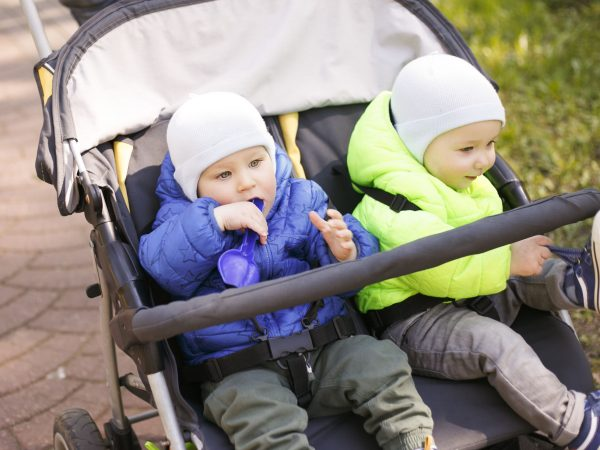 Two brothers sit in a stroller and walk in the park