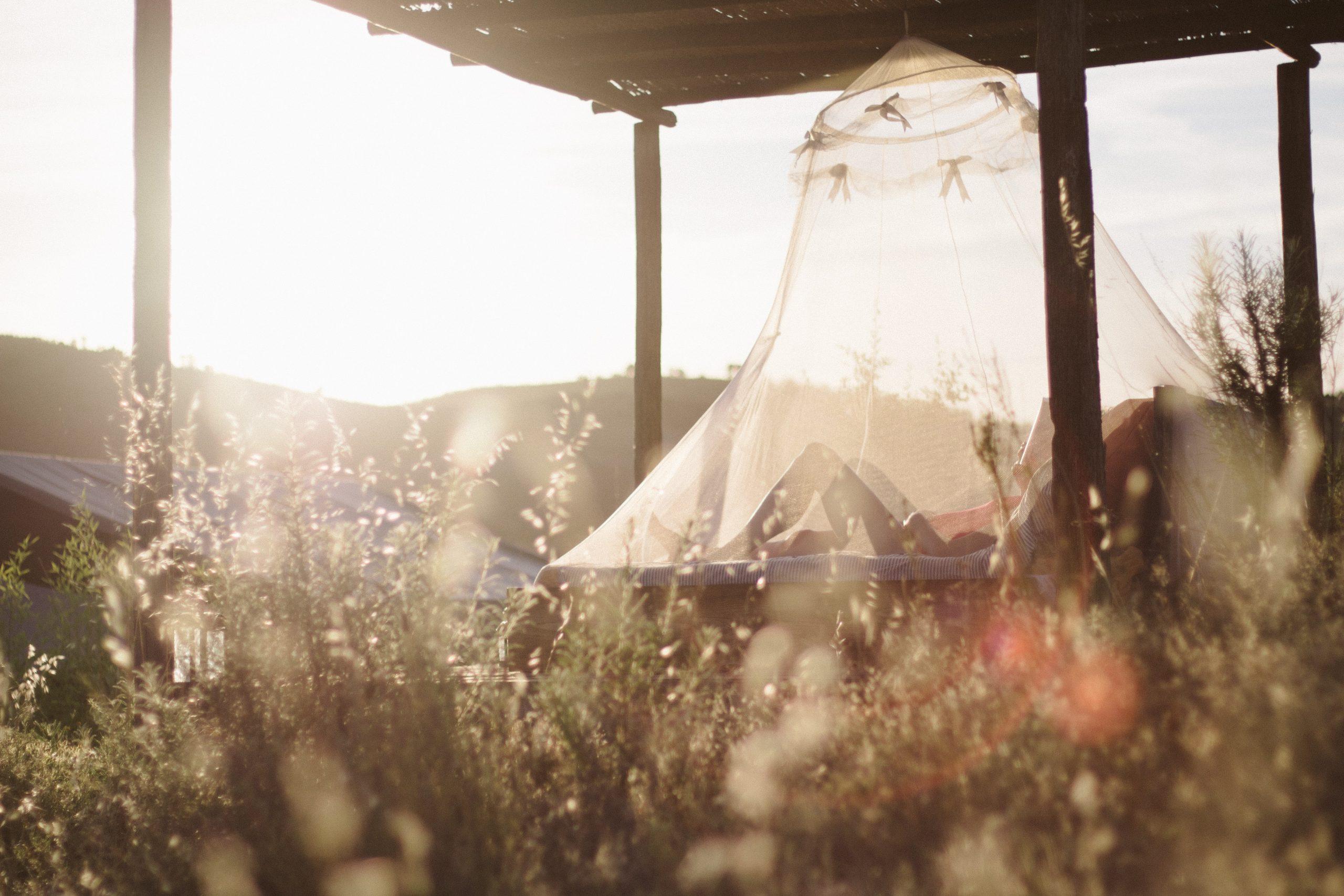 campo con cama