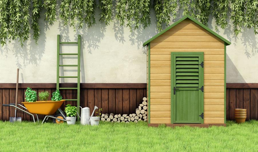 caseta de jardin colorida