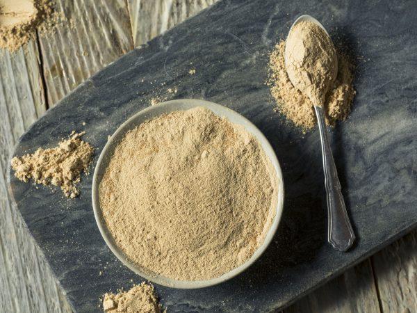 Dry Organic Maca Powder Superfood in  a Bowl