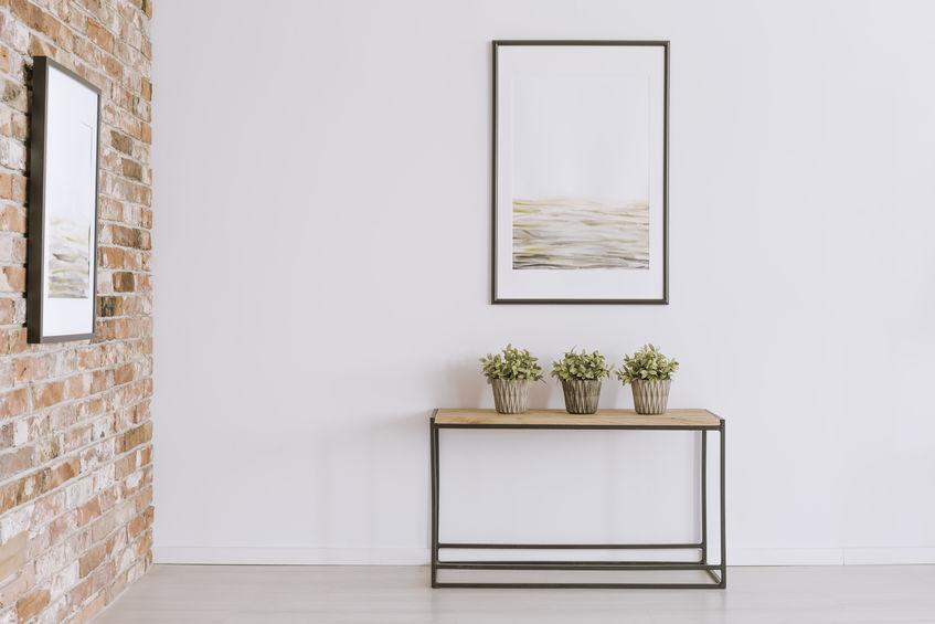 mesa y plantas
