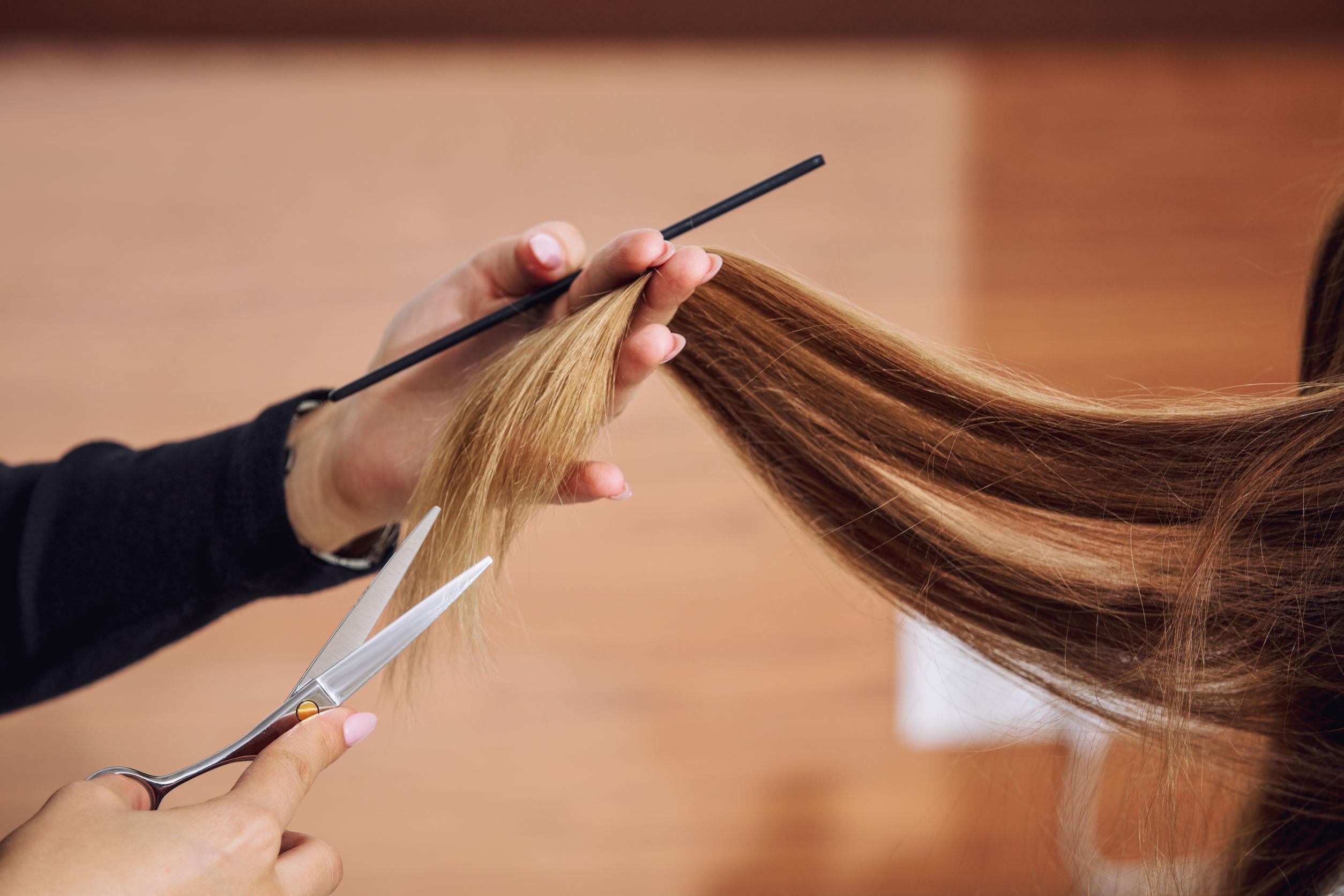 Mujer hermosa joven hace un corte de pelo de un peluquero profesional en primer plano de un salón de belleza