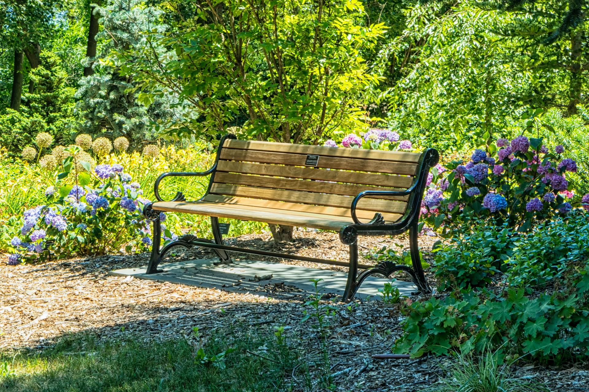 banco clásico de jardín