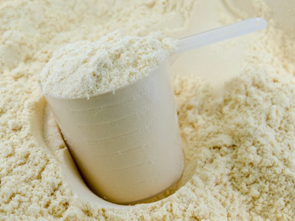Background of white whey protein with measuring scoop