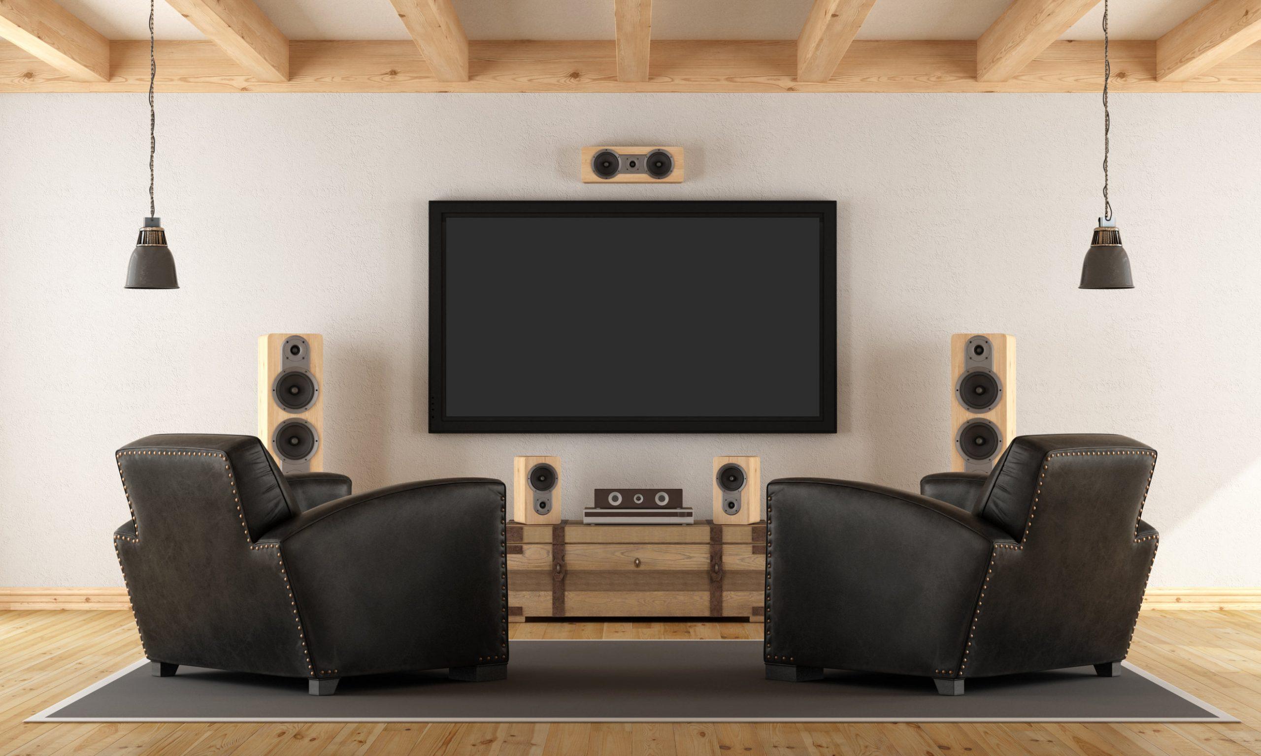 Sitio de la vendimia con el sistema de cine en casa contemporánea