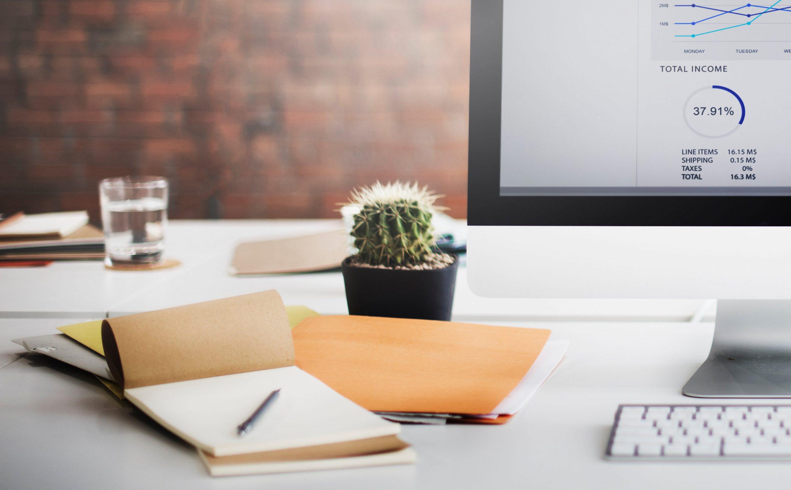 escritorio y maceta