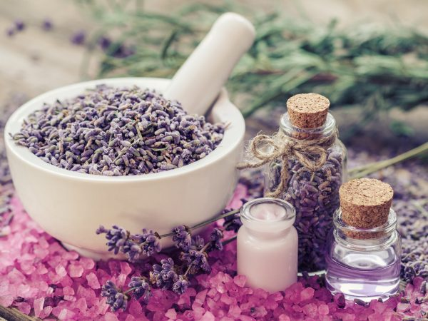 Dry lavender in mortar, aromatic pink sea salt, cream, bottles of essential oil and lavender flowers. Selective focus.