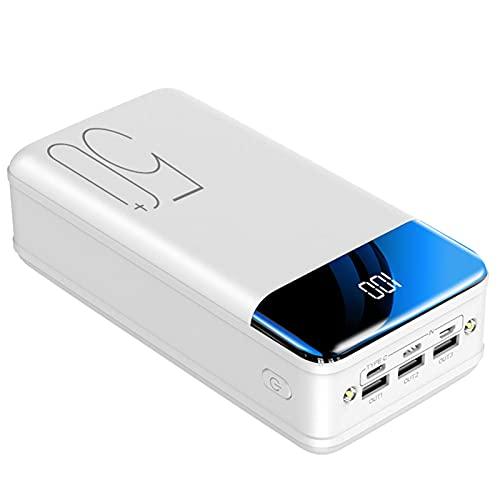 PWQ-01 Power Bank, 50000Mah Power Banks Carga Rápida Batería Externa Portátil [3] Pantalla LED Cargador Móvil con Linternas para Tabletas Telefónicas Y Más,Blanco