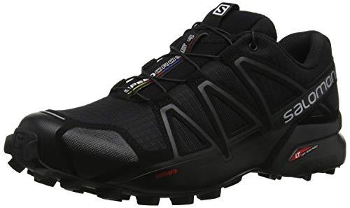 Salomon Speedcross 4 Hombre Zapatos de trail running, Negro (Black/Black/Black Metallic), 43 ⅓ EU