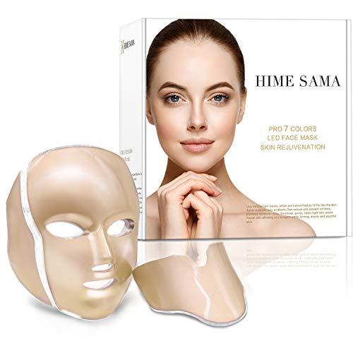 Máscara Led Facial 7 Colores, HIME SAMA Máscara facial de LED para el cuidado de la cara y el cuello, máscara de cuidado facial y máscara de cosmética óptica portátil para uso doméstico y de viaje