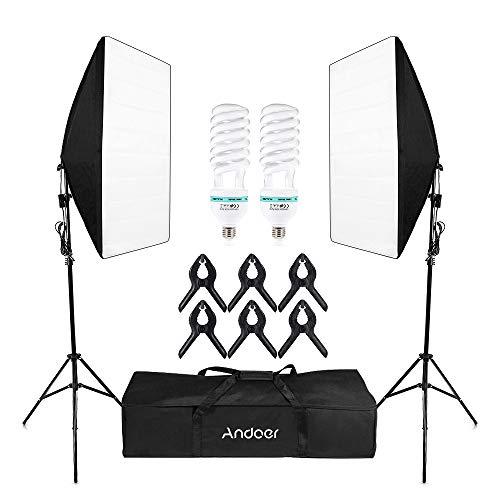 Softbox Kit de Iluminación,Andoer Kit de Estudio Fotográfico Profesional Light 5500K con 2 * 135 W Photolamps 2 * Light 2 * Softbox 6 * Clips 1 * Bolsa de Transporte