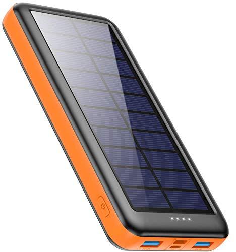 Feob Cargador Solar 26800mah, Power Bank Solar【IC de Control Inteligente】con Entradas de Tipo-C, Micro USB o Paneles Solares, Carga Rápida Batería Externa Universal para Smartphones, Tabletas