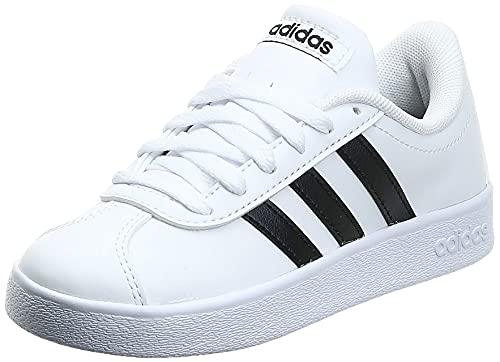 adidas VL Court 2.0 K, Zapatillas Unisex Adulto, Blanco (Footwear White/Core Black/Footwear White), 37 1/3 EU