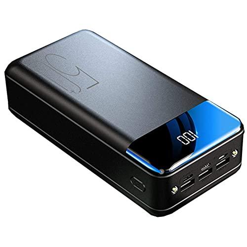 PWQ-01 Power Bank, 50000Mah Power Banks Carga Rápida Batería Externa Portátil [3] Pantalla LED Cargador Móvil con Linternas para Tabletas Telefónicas Y Más,Negro