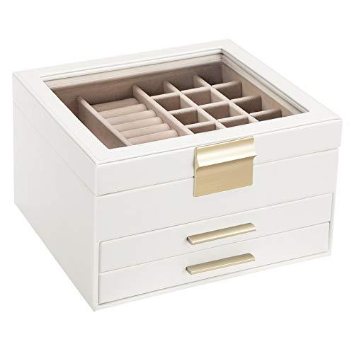 SONGMICS Caja joyero, Caja para joyas, Organizador de joyas con tapa de cristal, 3 capas con 2 cajones, Regalo para seres queridos, Blanco JBC239WT
