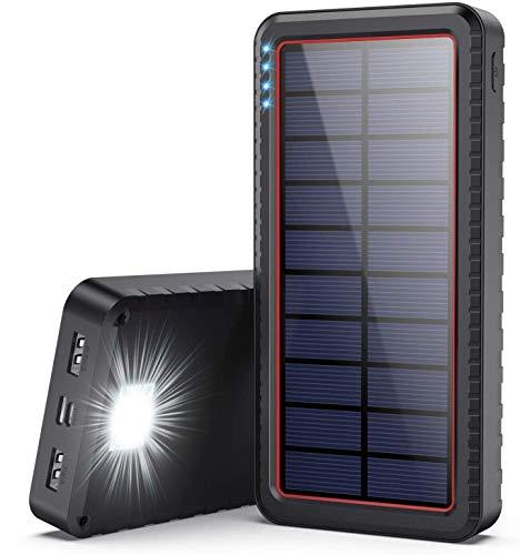Cargador Solar 26800mAh, Batería Externa Solar con Entrada Tipo C y 2 Salidas USB, Power Bank Solar de Carga Rápida con Linterna LED Para iPhone Android iPad Cámara, Actividades Al Aire Libre (rojo)