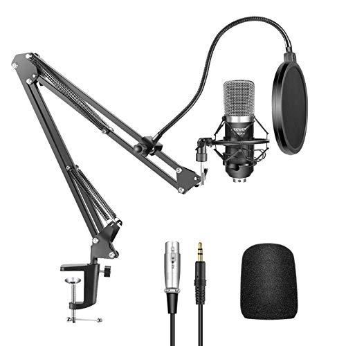 Neewer NW-700 Micrófono Condensador Pro Estudio Grabación de Emisión y NW-35 Micrófono Grabación Ajustable Suspensión Brazo de Tijera con Montaje de Choque y Abrazadera Montaje kit