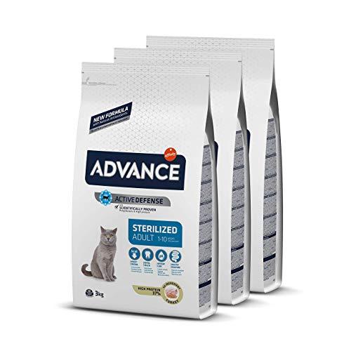 ADVANCE Adult Sterilized - Pienso Para Gatos Adultos Esterilizados Con Pavo Y Cebada - Pack De 3 X 3kg - Total 9 Kg
