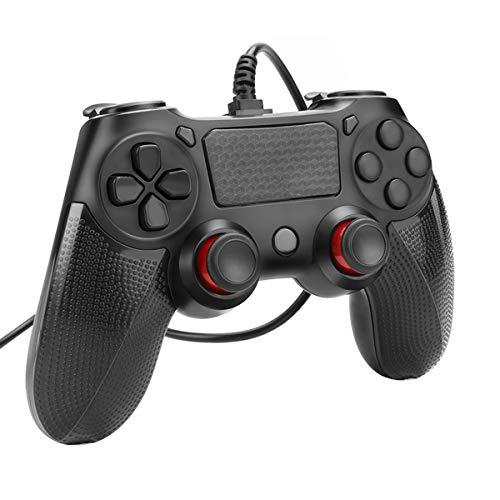 Gamepad Controller Powcan Mando para PC con Cable Joysticks con Doble vibracion Turbo y Botones de activacion para PS4 / PS4 Slim / PS4 Pro y PC con cable USB de 2.2 m de largo, negro (1)