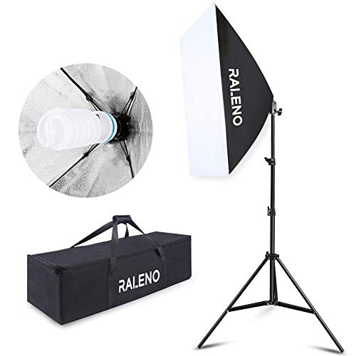 Studio Softbox Iluminación Kit Fotografía, Raleno 50x70cm Equipo de Iluminación Continuo con 1x 85W Bombilla, 1x Softbox, 1x Trípode Montaje Universal, 1x Bolsa de Tela