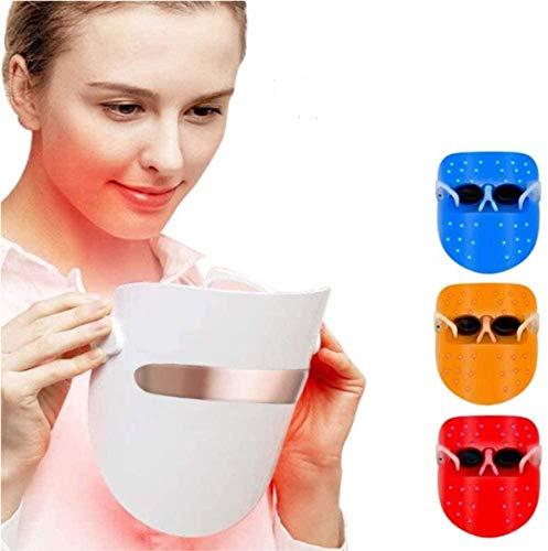Máscara facial antiacné para terapia con luz led, terapia de fotones FT350 contra el acné, para el rejuvenecimiento de la piel, reduce granos e inflamaciones con luz azul/roja/naranja