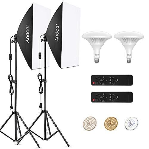Andoer Softbox Kit de Fotografia con Control Remot, 150W LED Bombilla Ajustable, Temperatura de Color 3000K-6000K, 2piezas 19.6x27.5pulgadas Softbox y Tripodes para Estudio Fotográfico Profesional