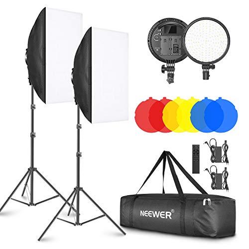 Neewer 2-Pack Kit Iluminación LED 2,4G Softbox con Filtro Color 51,1x71cm Softbox 3200-5600K 48W Cabezal de Luz LED Regulable con Control Remoto 2,4G Soporte Luz Filtro Rojo Amarillo Azul para Vídeo
