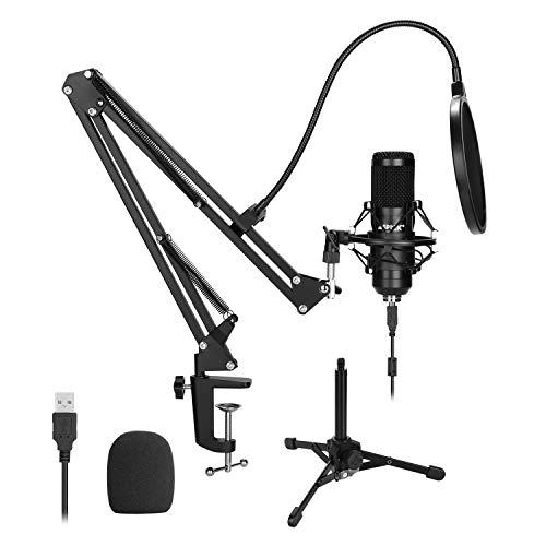 AGPtEK Micrófono de Condensador USB de estudio, con Soporte de Brazo Tijera, Base Metálica Reforzada, Trípode de Metal, Micrófono Anti-Viento para Grabar Música y Video Podcast Transmisión en Vivo
