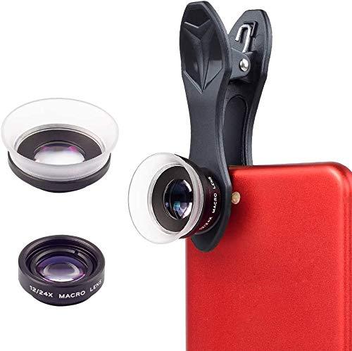 APEXEL 2 en 1 Clip-On Kit de Lentes de la cámara, 12X Macro + 24X Super Macro para iPhone 7/6/6 más, iPad, Samsung Galaxy, Sony y la mayoría de los teléfonos móviles
