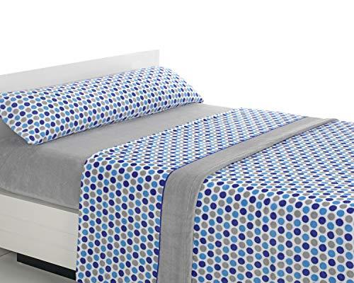 SABANALIA - Juego de sábanas de coralina Happy - Gris-Azul, Cama 200